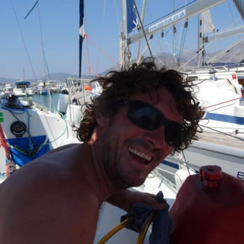 Matt our legendary flot skipper, always cheerful even when fueling up