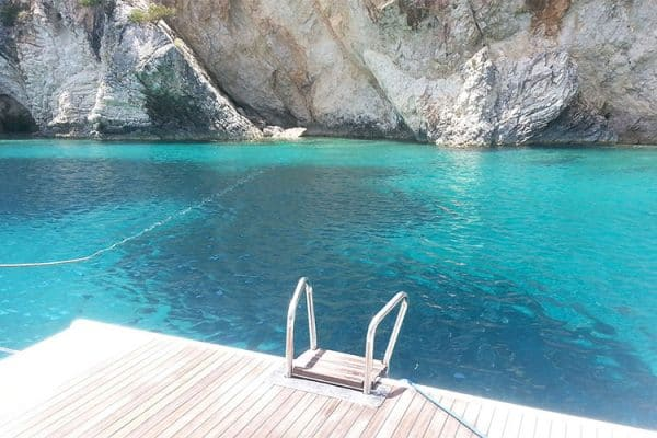 A giant private swimming pool from the Bavaria 45 swim platform