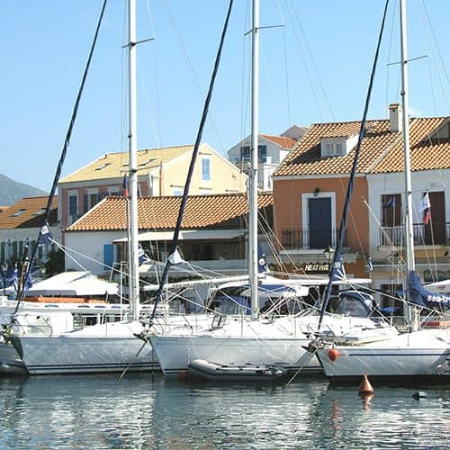 Safely moored up in Fiscardo n the quay