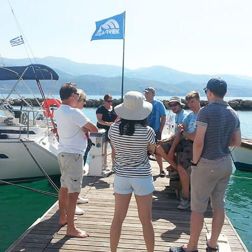 Learn to Sail briefing on the pontoon in Lixouri
