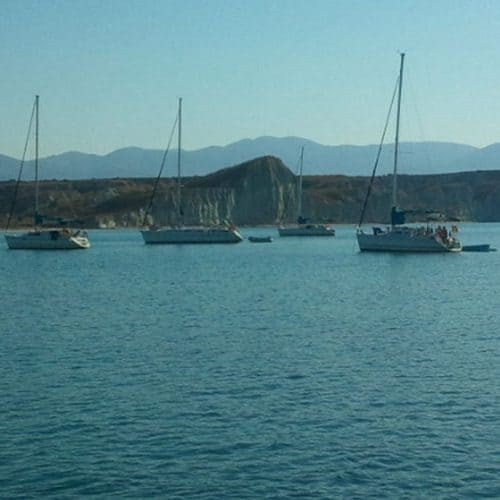 The Learn to Sail yachts on anchor for the night in Kounopetra