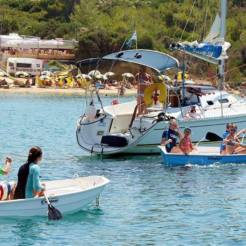 Fun in the yacht tenders near Lixouri