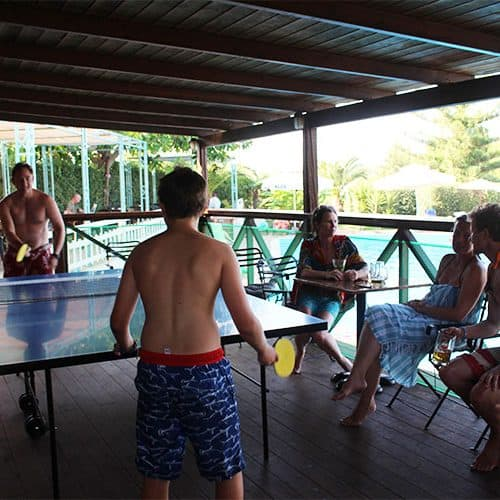 Off the water enjoy some pool side table tennis
