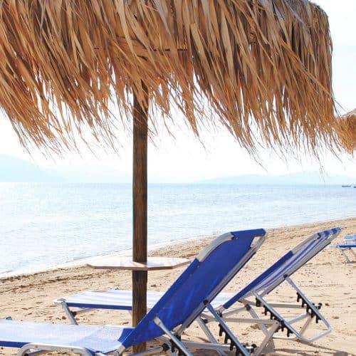 Our private sandy beach at Lixouri Bay Beach Club