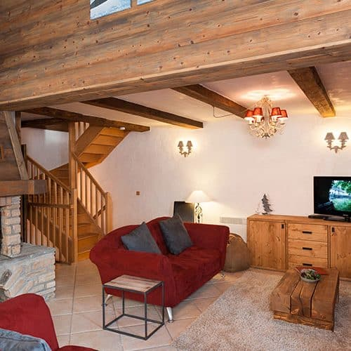 The living area is comfy and warm with underfloor heating and a log fire