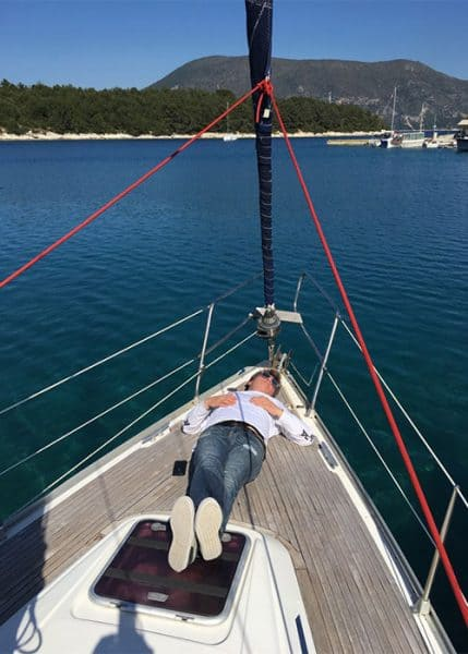 Joe asleep on deck on Flotilla