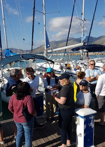 Back on the flotilla pontoon in Lixouri