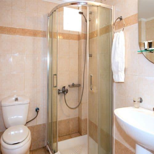A studio bathroom with shower