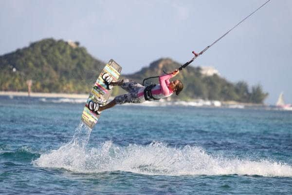 Kite surfer jumping