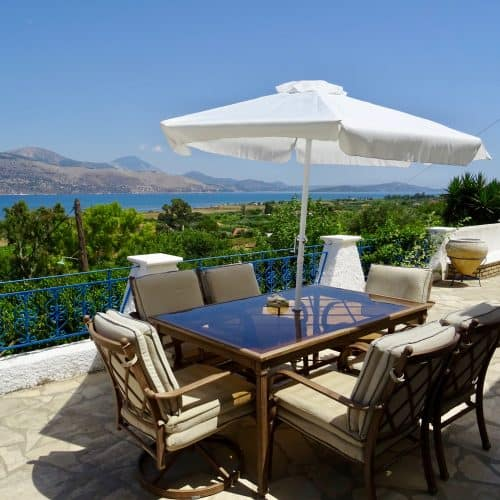 Villa Afrodite al fresco dining with sea views