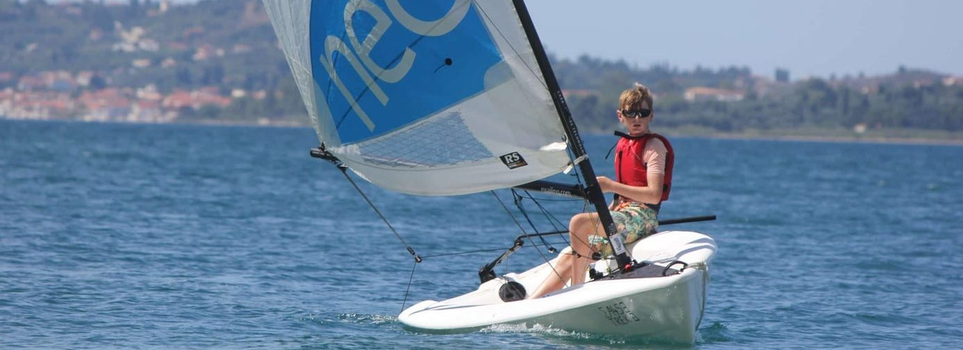 Sailing an RS Neo at Lixouri Bay Beach Club
