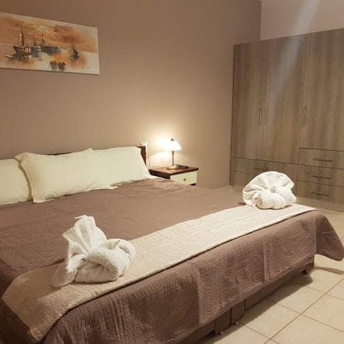 Double bed at Lixouri Bay Beach Club