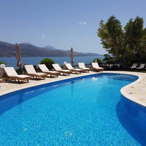 Pool and view at Lixouri Bay Beach Club