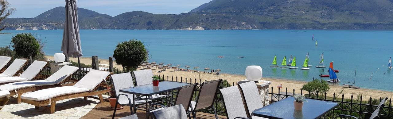 Lixouri Bay Beach Club Deck View