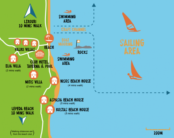 Paliki Beach Club Map 2020