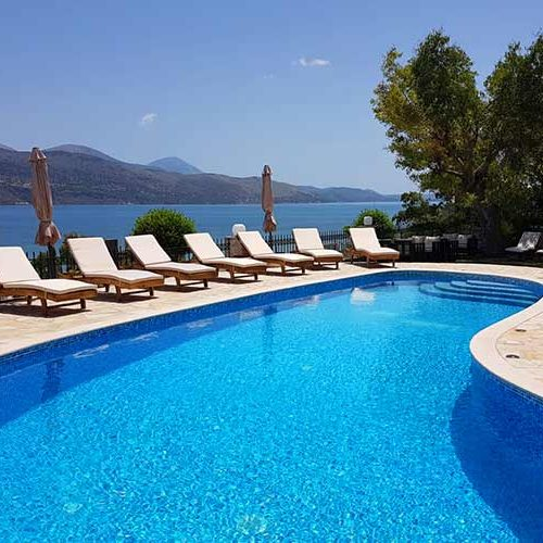 Lixouri Bay Beach Club Pool and View