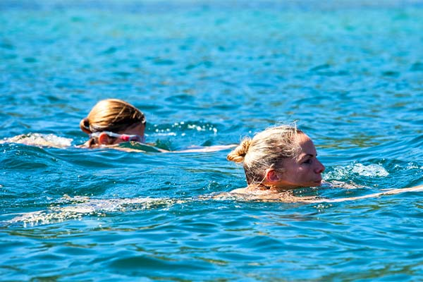 Morning wild swimming in Kefalonia Greece