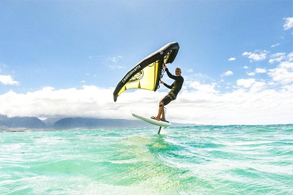 Wingsurfing on a foil board